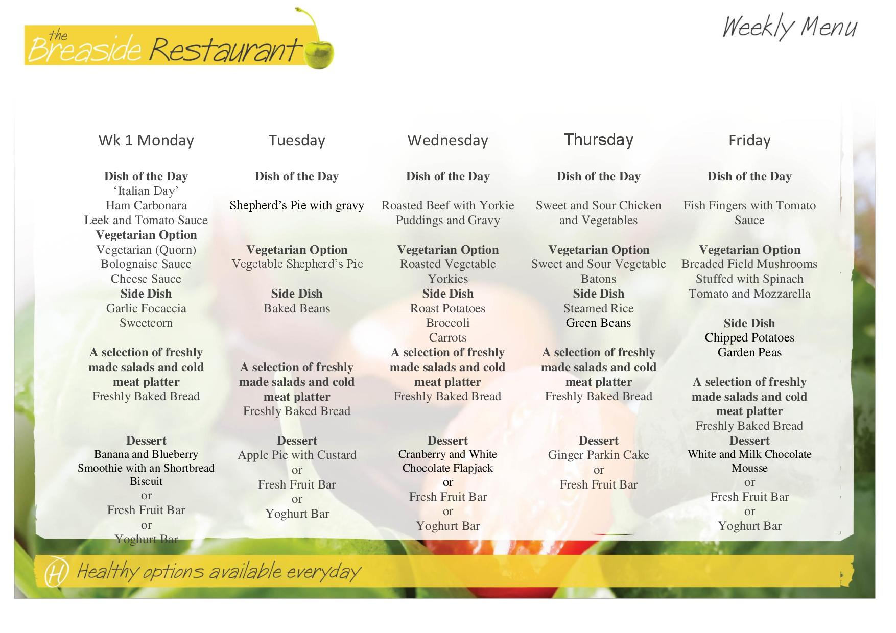 Autumn Term 2018 Menus Week 1, 2 and 3